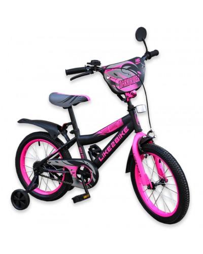 """Велосипед детский 2-х колёсный 18"""" 191824 Like2bike Dark Rider, чёрно/розовый"""