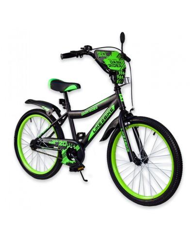 """Велосипед детский 2-х колёсный 20"""" 192019 Like2bike Dark Rider, чёрно/салатовый,  без трениров"""