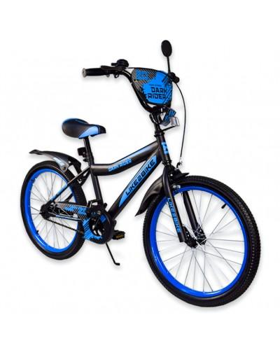 """Велосипед детский 2-х колёсный 20"""" 192020 Like2bike Dark Rider, чёрно/синий, без тренировочны"""