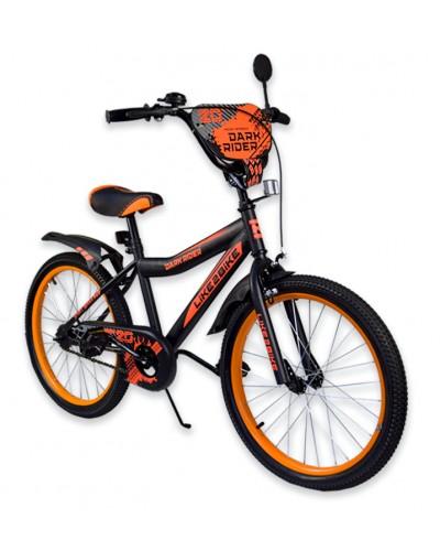 """Велосипед детский 2-х колёсный 20"""" 192022 Like2bike Dark Rider, чёрно/оранжевый, без трениров"""