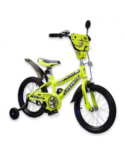 """Велосипед детский 2-х колёсный 16"""" 191629 Like2bike Active, жёлтый"""