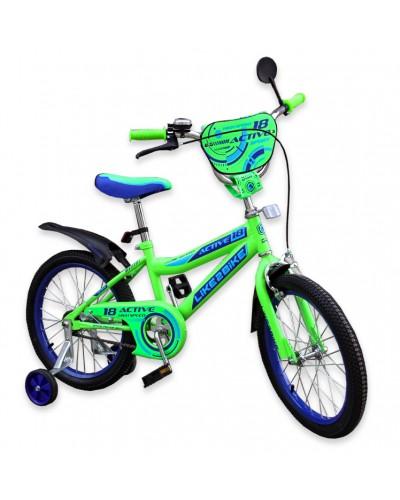 """Велосипед детский 2-х колёсный 18"""" 191827 Like2bike Active, салатовый"""