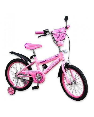 """Велосипед детский 2-х колёсный 18"""" 191828 Like2bike Active, розовый"""