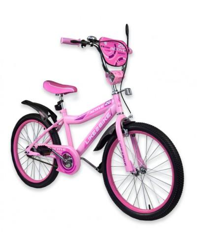 """Велосипед детский 2-х колёсный 20"""" 192028 Like2bike Active, розовый, без тренировочных колёс"""