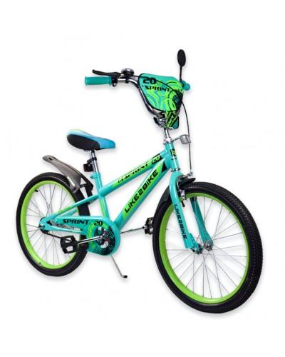 """Велосипед детский 2-х колёсный 20"""" 192033 Like2bike Sprint, зелёный, без тренировочных колёс"""