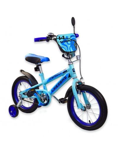 """Велосипед детский 2-х колёсный 14"""" 191422 Like2bike Sprint, голубой"""