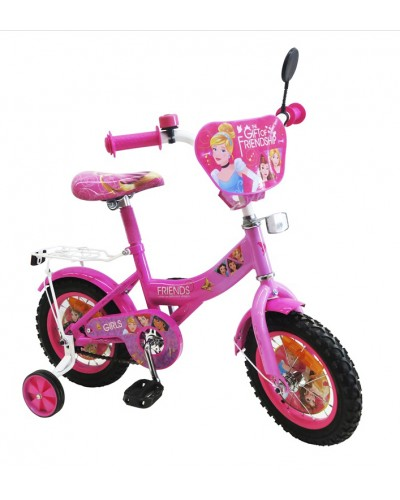 "Велосипед 2-х колес 12"" 181202 со звонком, зеркалом, без ручного тормоза"