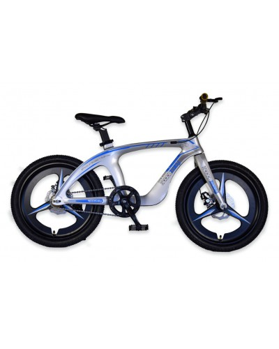 Велосипед 2-х колес 20'' M20302  СЕРЕБРО, рама из магниевого сплава, подножка, руч.тормоз, без до