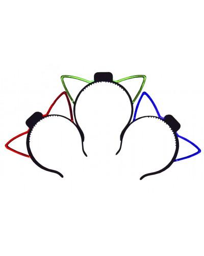 """Ободок свет CLG17113, 3 вида (красн, синяя, зелёная подсв.), обруч с ушками """"кошка"""" в пак. 17*17см"""