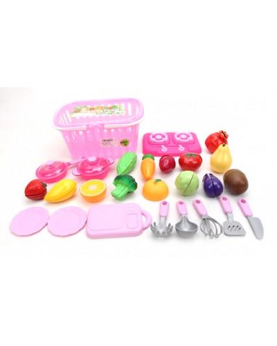 Овощи и фрукты TP286 на липучках, дел пополам, досточка, нож, печка, посудка, в корзине