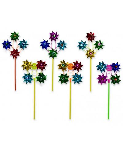 Ветрячок V1901 голограмма, с 4-мя цветками, 3 вида