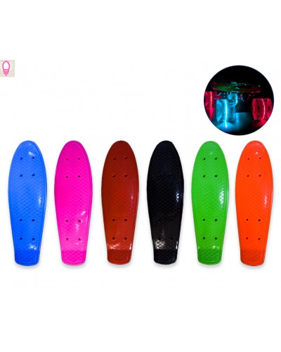 Пенни борд SC180404 разобр., пластик. крепление, колеса PVC, 42*12 см,6 цветов