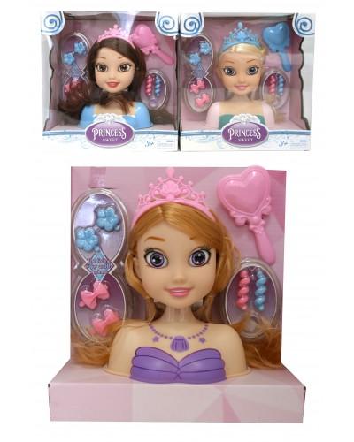 "Голова куклы ""ПД"" L2015-69A-1/2/6/7 4 вида, расческа, заколки, в корю 21*20*18 см"