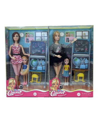 """Кукла """"Учитель"""" KQ092B 2 вида, шарнир, куколка, парта, доска, глобус, аксесс, кор. 33*6*20см"""