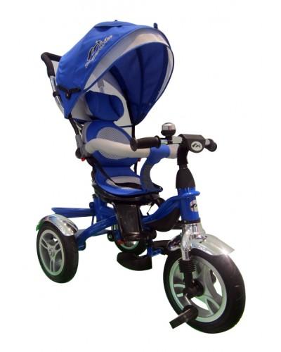 Велосипед 3-х колес TR17005 СИН, складной козырек, надувные колеса 12'' и 10''
