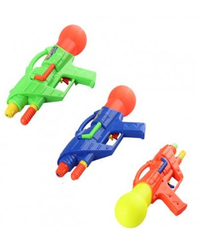 Водный пистолет 519 3 цвета, с насосом, в пакете 30см