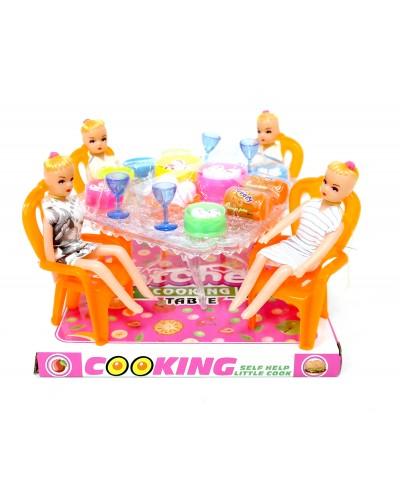 Мебель 66-25 с куколками, посудой, продуктами, под слюдой 18,5*17,5*12,5 см