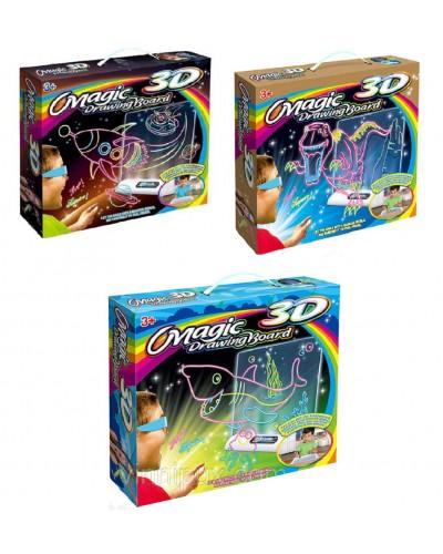 Доска для рисования 3D 656-2/3/4 подстав, 4 цв. флом, 3D-очки, 3цвет. карт, салфет, в кор. 20,5*4*28