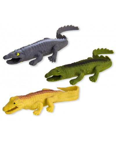 Антистресс AN1901 рез. крокодил с шариками внутри, 3 цвета, 21см, 12шт в дисплей боксе
