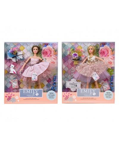 """Кукла """"Emily"""" QJ077A/QJ077B 2 вида, с букетом и аксессуарами, в кор. 33*28*6см"""