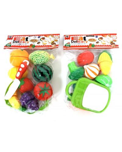 Продукты MJL-801B-9  2 вида, фрукты и овощи на липучках, в пакете 14*9*2 см