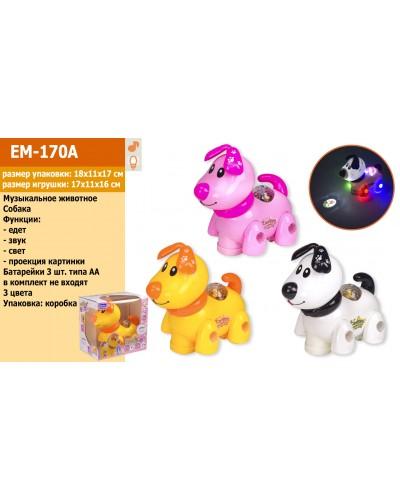 Муз. животное EM-170A собачка, 3 цвета, свет, звук, в коробке 18,5*11,5*17,5см