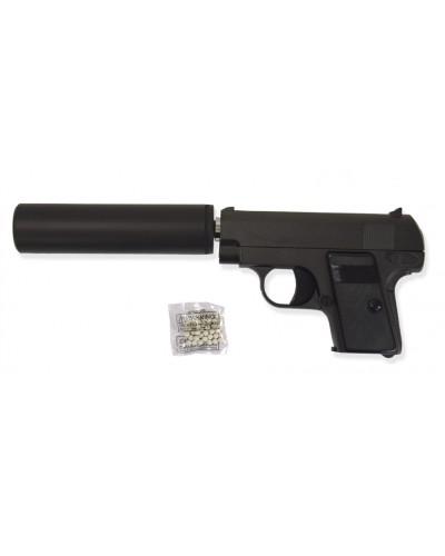 Пистолет метал. пластик G.9A с пульками, глушителем в коробке 24*9*2см