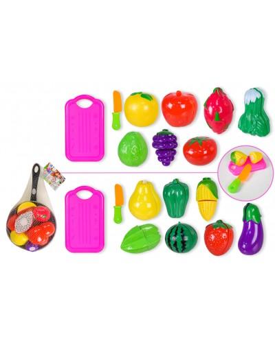 Продукты 3013C 2 вида, на липучках, сковородка, нож, дощечка, овощи, в сетке 31*19 см