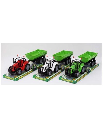 Трактор инерц. FB17-9 (72шт/2) с прицепом,3 цвета, под слюдой 37*10*11,5см