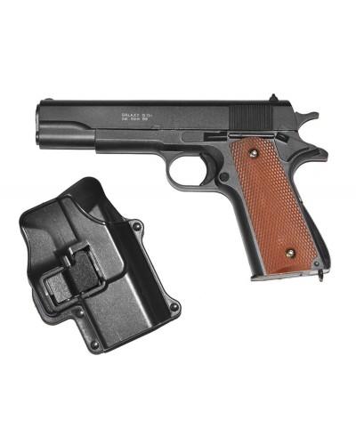 Пистолет метал. пластик G.13+ с пульками, кобурой в коробке 22*14*5см