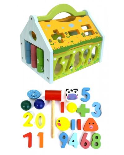 Деревян. домик-логика WD1903 2 вида, сортер, цифры, фигурки, шарики, в коробке 24*16*16см