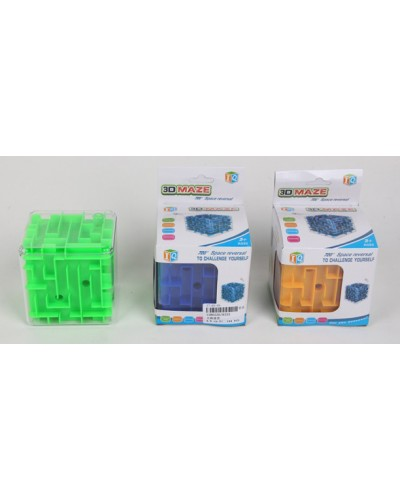 Головоломка 3D-лабиринт 9333 куб, 3 цвета микс, в кор. 9*8,5*12,5 см