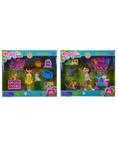 Кукла маленькая 53801/53803 2 вида, с питомцами и аксессуарами, в кор. 29,5*25*8 см