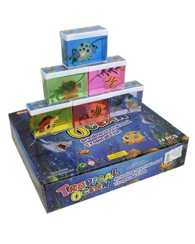 Лизун SL1915 аквариум с рыбкой, 8*6см, 5 цветов,12шт в дисплей боксе /цена за шт/