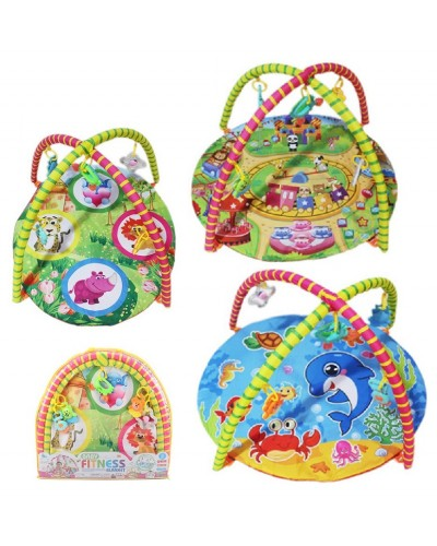 Коврик для малышей 550-7/8/9 3 микс, с погремушками на дуге, в сумке 61*57см
