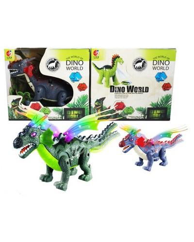 Интерактивное животное KQX-07 Динозавр, 2 цвета, батар., свет, со звуком, проектор, в коробке 29*26