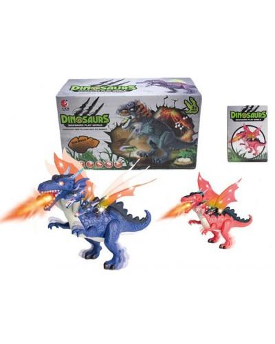 Интерактивное животное KQX-39 Динозавр, 2 цвета, батар., свет, со звуком, ходит, движ. крыльями