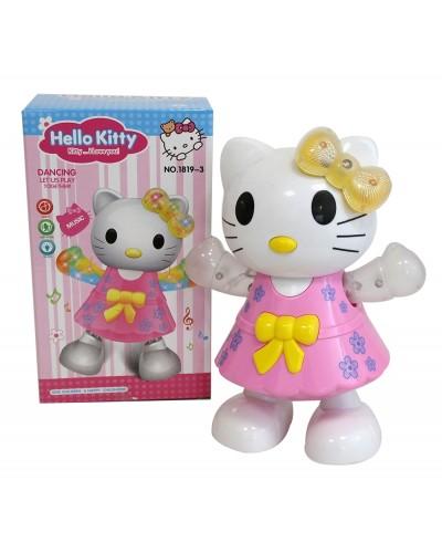 """Муз.животное 1819-3 """"Hello Kitty"""" батар, свет, в кор. 12*12*20см"""