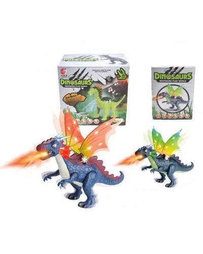 Интерактивное животное KQX-31 Динозавр, 2 цвета, батар., свет, со звуком, ходит, движ. крыльями