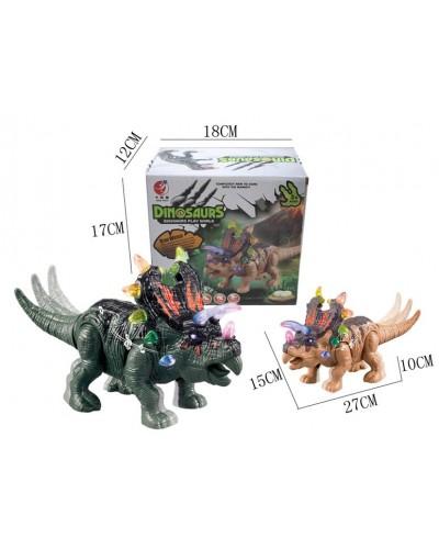 Интерактивное животное KQX-40 Динозавр, 2 цвета, батар., свет, со звуком, ходит, движ. хвостом