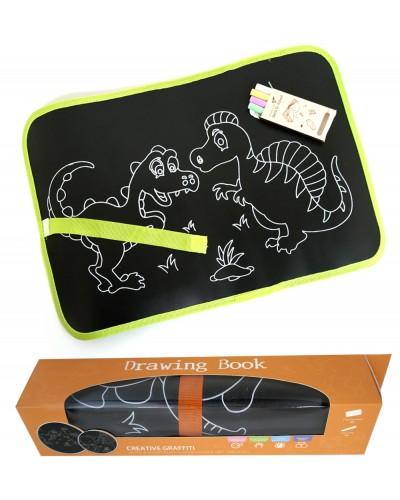 Коврик для рисования 28057/57A  2 вида, цвет. мелки, в коробке 6,5*6,5*30см