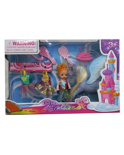Кукла маленькая 66433 с лошадкой, платьями, расческой, сумкой,  в кор. 25*16*5 см