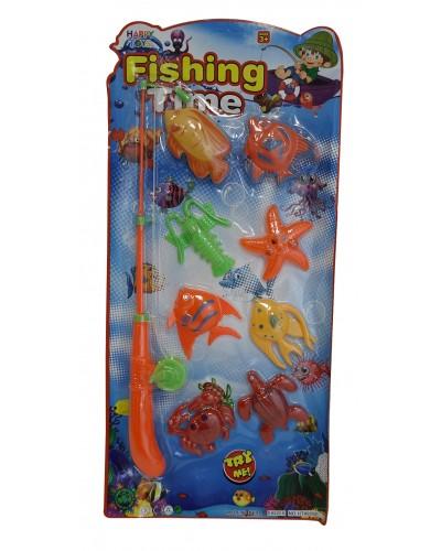 Рыбалка HT99292 магнит., удочка, 8 рыбок, на планшетке 25*53см