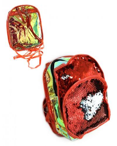 Рюкзак CEL-408 4 вида, двухсторонние пайетки, зеркальная светоотражающая вставка, 23х19 см в пакете