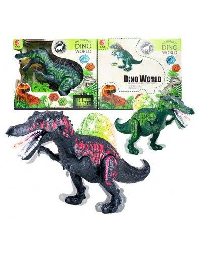Интерактивное животное KQX-03 Динозавр, 2 цвета, свет, звук, движ, в коробке 26,5*31см