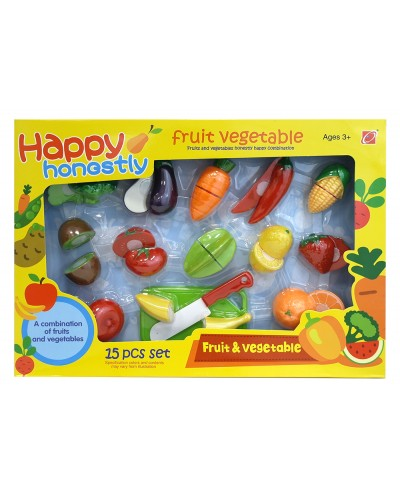 Продукты 666S-13/14  фрукты, овощи на липучке, нож, дощечки, в коробке 39*5*30 см