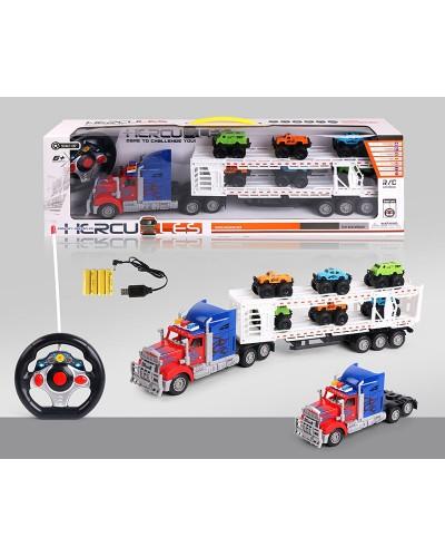 Трейлер аккум. батар. р/у 9090-9F с машинками ,в коробке 59*17*8,5см