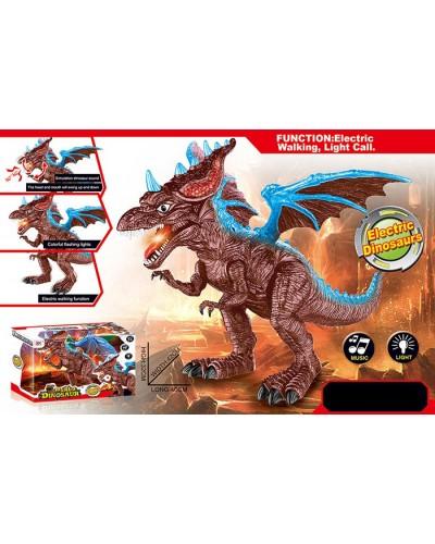 Интерактивное животное 828A динозавр, 2 цвета, свет, звук, ходит, пульт, изделие 32*42*40
