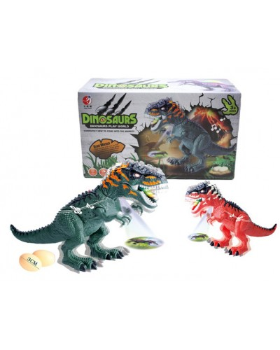Интерактивное животное KQX-32 Динозавр, 2 цвета, свет, звук, ходит, несет яйца, проектор, в коробк