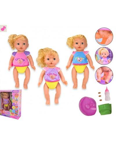 Кукла XMY8079  2 вида, с ароматом, МУЗ звуки, свет, ходит в туалет (спец. капсуслы), горшок